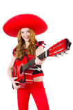 Woman guitar player with sombrero Stock Photography