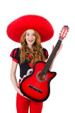 Woman guitar player with sombrero Royalty Free Stock Photo