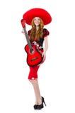 Woman guitar player with sombrero Stock Photos