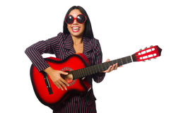 The woman guitar player on white Stock Images