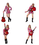The woman guitar player on white Royalty Free Stock Photography