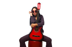 The woman guitar player on white Royalty Free Stock Photos