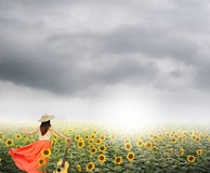 Woman and guitar standing in sunflower fields with rainclouds Stock Images