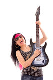 Woman With Guitar On White Stock Photo
