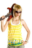 Woman guitarist Royalty Free Stock Images