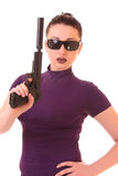 Woman and gun Royalty Free Stock Photos