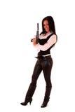 Woman with gun Stock Photo