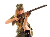 Woman with gun. On white isolated Royalty Free Stock Photos