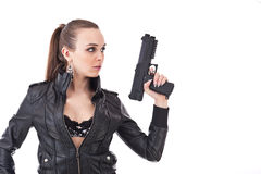 Woman with a gun Stock Image