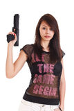 Woman with gun Stock Photo