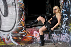Woman with gun Royalty Free Stock Photo