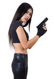 Woman and gun Royalty Free Stock Image