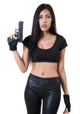 Woman and gun royalty free stock images