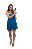 Woman with Gun. Beautiful woman with a loaded handgun pistol royalty free stock photos