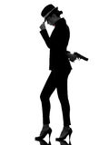 Woman gun gangster killer silhouette Royalty Free Stock Images