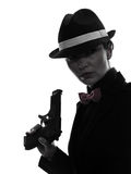 Woman gun gangster killer silhouette Stock Image