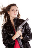 Woman gun hair blowing stock photos