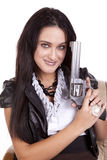 Woman gun happy dark hair Stock Photos