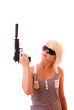 Woman with gun isolated Royalty Free Stock Image