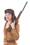 Woman with gun isolated Stock Image