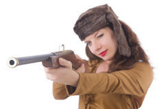 Woman with gun isolated Royalty Free Stock Images