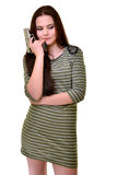 Woman with gun. Isolated on white Royalty Free Stock Image