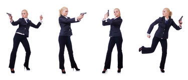 The woman with gun isolated on white. Woman with gun isolated on white Royalty Free Stock Images