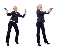 The woman with gun isolated on white Royalty Free Stock Photography