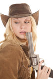 Woman gun by mouth look back Stock Photos