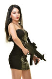 Woman with gun. Sexy latino woman with gun Royalty Free Stock Photography