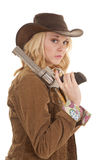 Woman gun shoulder serious Royalty Free Stock Photo