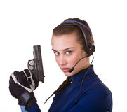 Woman with gun support customer. Royalty Free Stock Photo