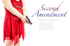 Woman with gun with text Royalty Free Stock Image