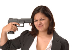 Woman with gun to head Royalty Free Stock Image