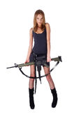 Woman with gun on white. Beautiful sexy blond woman holding army rifle Royalty Free Stock Photo