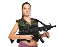 Woman with gun. On white stock image