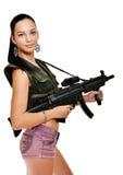 Woman with gun. On white royalty free stock photo