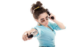Woman with guns isolated on a white background Stock Photo