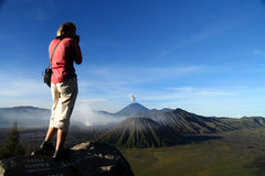 Woman And Gunung Bromo Stock Photography