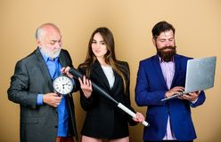Woman and guy colleague working together. Aggressive business. Business lady and boss. Time demands decisive actions. Expert team. Men bearded manager show stock images