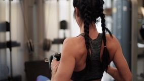 Woman on the gym stock footage