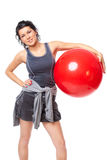 Woman with gym ball Stock Photography