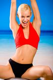 Woman with gym ball Royalty Free Stock Photography