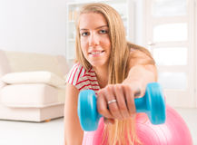 Woman with gym ball Stock Photo
