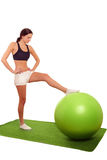Woman gym ball exercise Royalty Free Stock Image