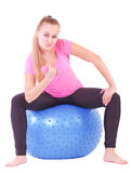 Woman with a blue ball Stock Photo