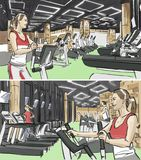 Woman in a gym illustration. Woman in a gym color illustration stock illustration
