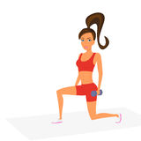 Woman at the gym is doing lunge exercise Stock Photo