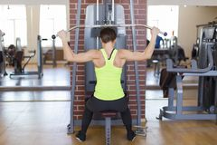 Woman in gym doing strength training on the simulator. The woman in gym doing strength training on the simulator Royalty Free Stock Photography
