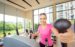 Woman in gym. Healthy lifestyle and sport. Pretty young woman exercising in gym Royalty Free Stock Images